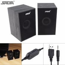 SADA Portable Wooden Form Full Range Subwoofer PC Bass Speaker Music DJ USB Computer Speakers Loudspeaker