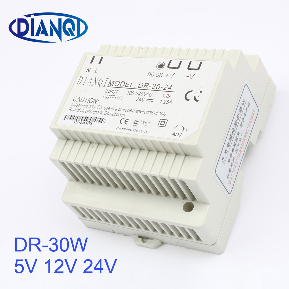 DIANQI 12V Din rail Single output Switching power supply 30w 5V suply 24v ac dc converter for LED Strip other dr-30 DR-30 ac to dc dr siide dr 30 5 5v 6a 30w ce singie output draii strip iight dispiay ied driver source swtching pwer supiy voit