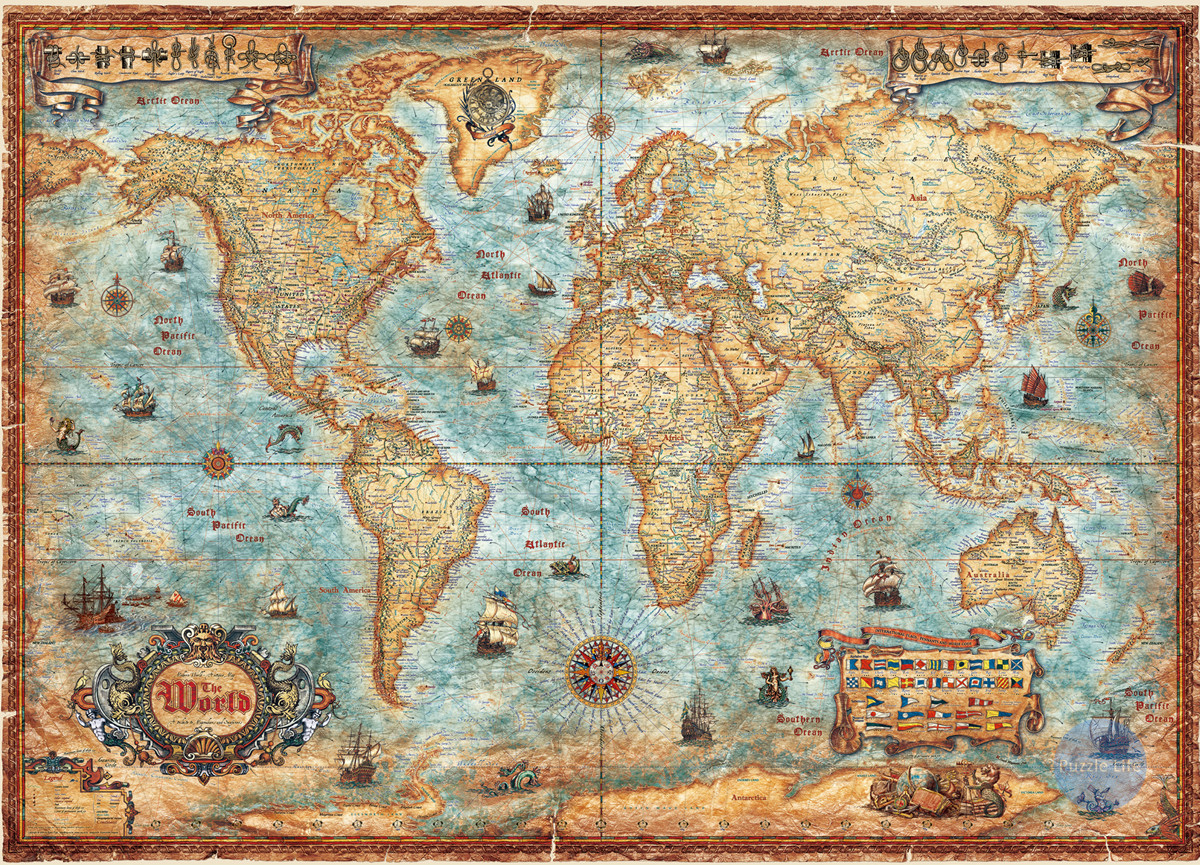 Retro Version Of World Map 3000 Pieces Of German Imported Renoir Toys