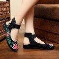 Chinês Do Vintage Bordado Sapatos Chinelos de Lona Verão bolsa de Viagem Ocasional Pano Nacional das Mulheres Elegantes Apartamentos Sandálias SMYXHX-F0008