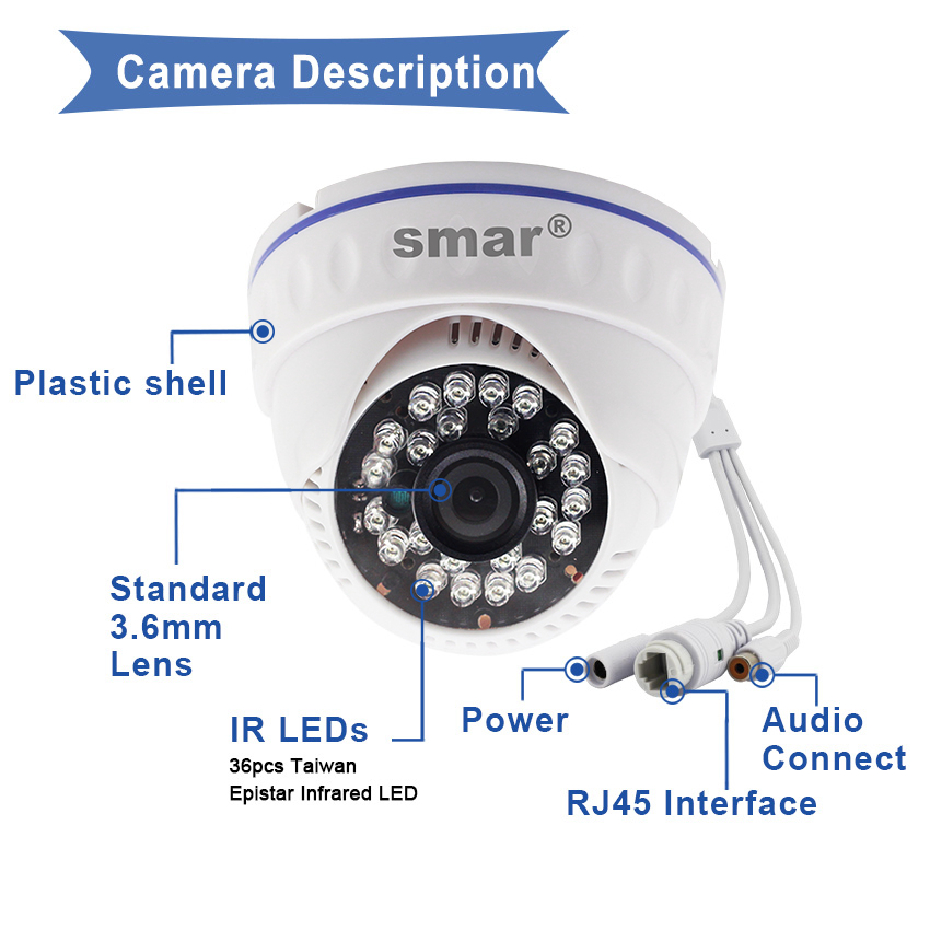 Image 5 - Smar Onvif Full HD H.265 20FPS 1080P IP Camera H.264 720P Security Dome Camera 24 IR LEDS POE/External Audio Optional XMEYE-in Surveillance Cameras from Security & Protection
