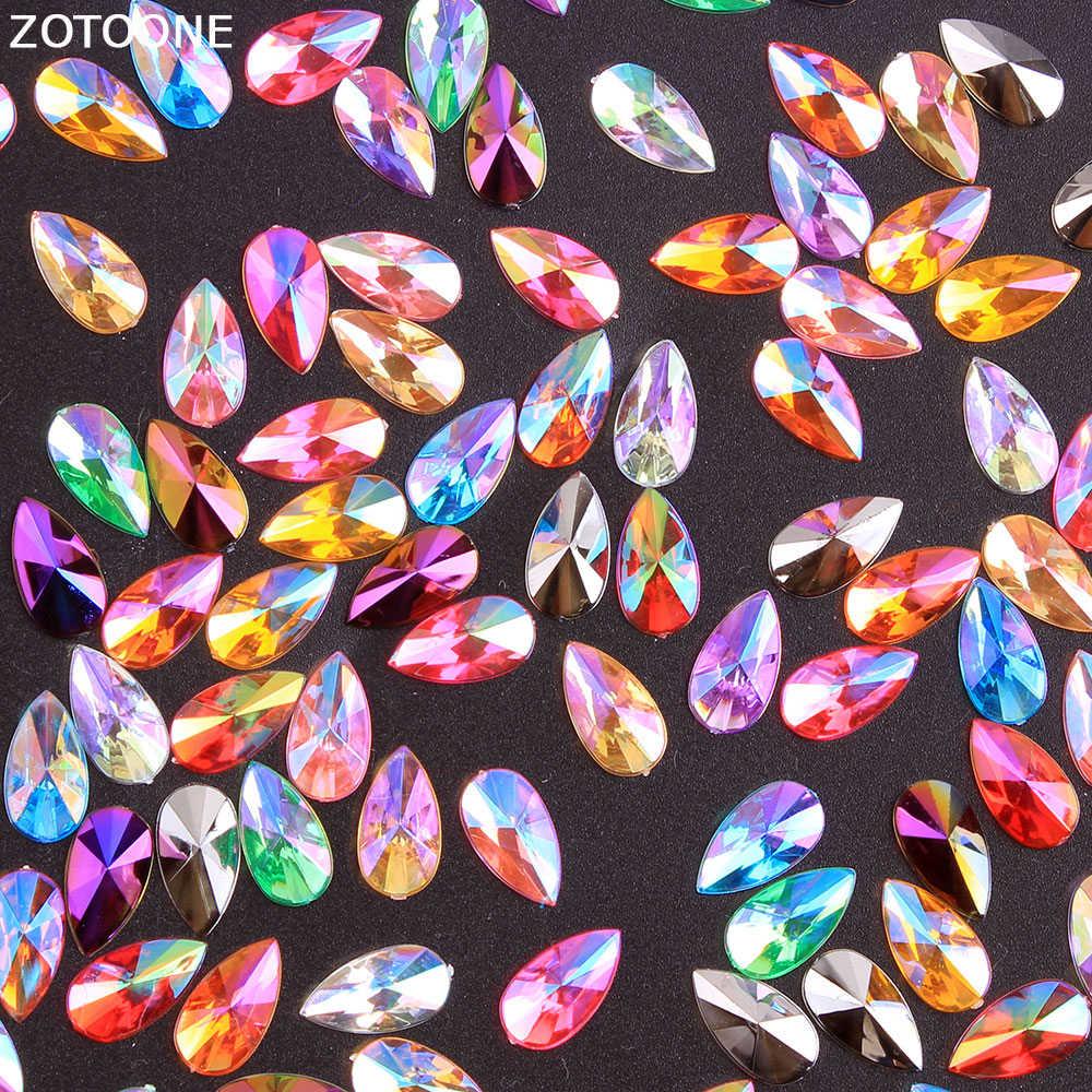 ZOTOONE 50 Uds 8*13MM pegamento Strasses Diamante de imitación de cristales AB para la ropa auto-diamantes de imitación adhesivos decoración de uñas para manualidades