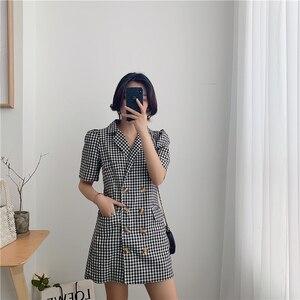Женское платье в клетку, винтажное облегающее платье в Корейском стиле, лето 2019