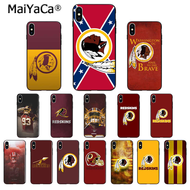 MaiYaCa Washington Redskins TPU Soft Silicone Black Phone Case for Apple iPhone 8 7 6 6S Plus X XS MAX 5 5S SE XR Cover