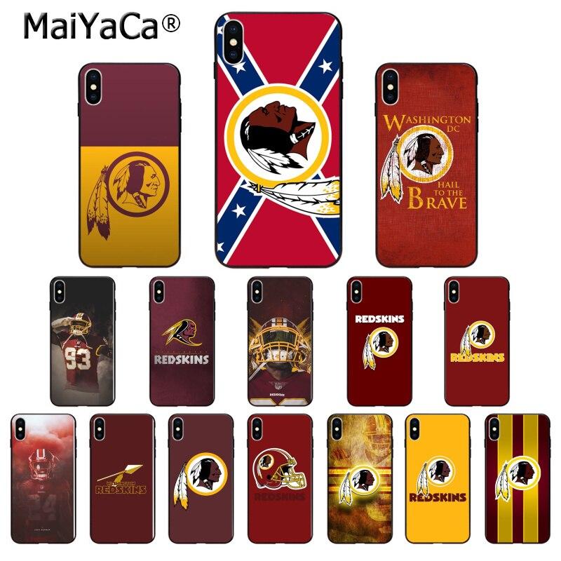 MaiYaCa Washington Redskins TPU Soft Silicone Black Phone Case for Apple iPhone 8 7 6 6S Plus X XS MAX 5 5S SE XR Cover Fortnite