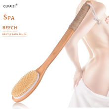 CLPAIZI Wooden Long Handle Body Massage Dry Brush Natural Bristle Bath Exfoliating Blood Circulation Shower D30
