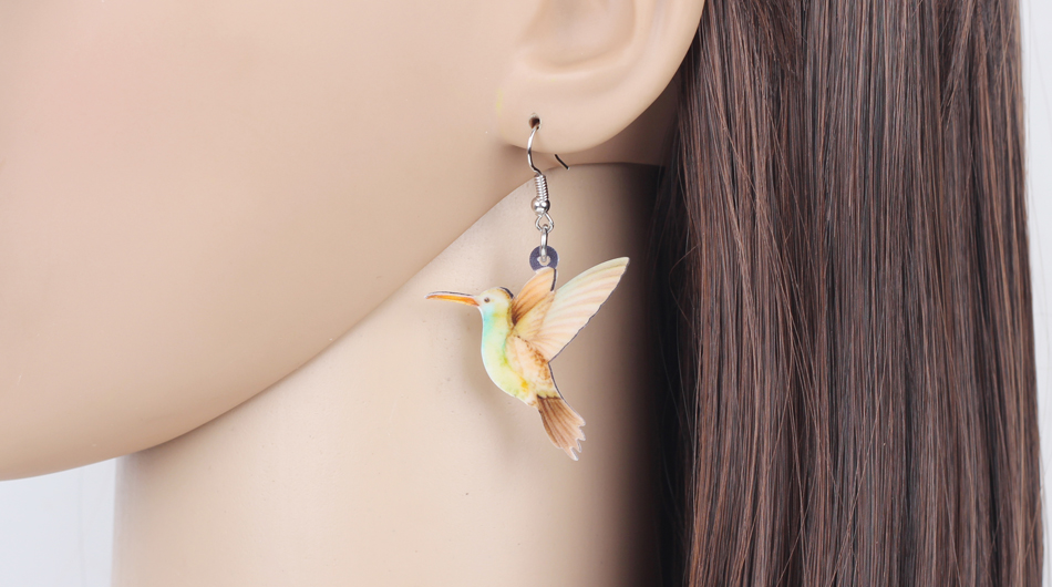 Bonsny Acrylic Flying Voilet Sabrewing Hummingbird Bird Earrings Big Long Dangle Drop Fashion Animal Jewelry For Women Girls Kid 7