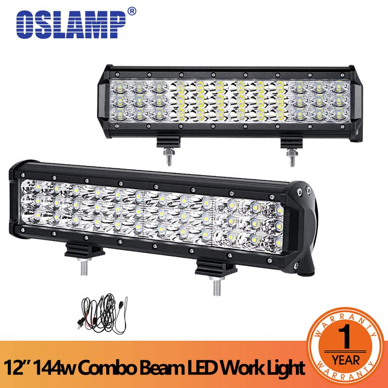 цена Oslamp 12 inch 6D 3-row LED Light Bar combo beam Offroad work light 144W DC 12V 24v SUV ATV 4x4 4WD trailer trucks Car-styling онлайн в 2017 году