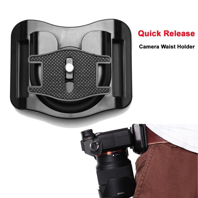 "1/4 ""Quick Release แผ่นกล้อง Holster เข็มขัดเข็มขัดหัวเข็มขัดตะขอแขวนสำหรับ Canon Nikon Fuji Sony A7RII 6500 GH5 DSLR"
