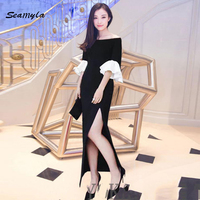 New Sexy Celebrity Party Dress 2017 Fashion Slash Neck Flare Sleeve Rumway Dress Women S High