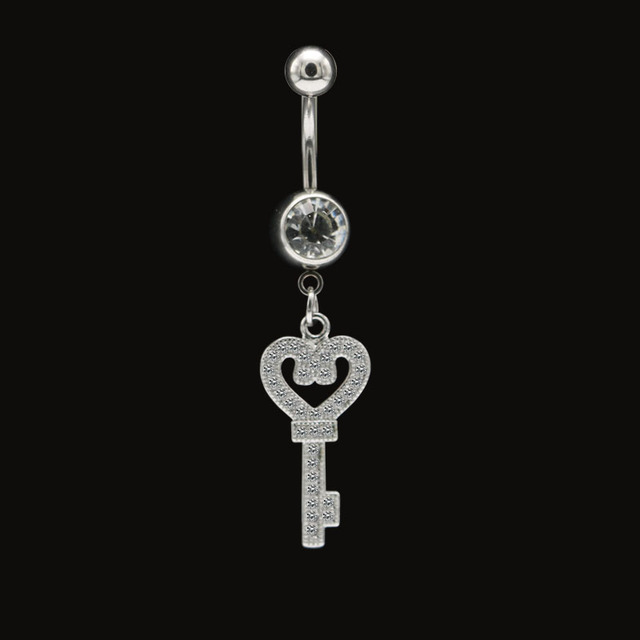 Us 3 06 15 Off Fashion Sexy Key Dangle Belly Button Rings Navel Piercing Bars Surgical Steel Zirconia Crystal Body Jewelry For Women Girls New In