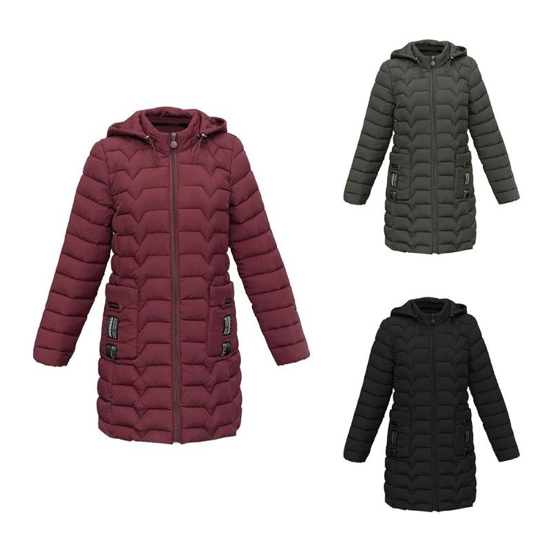 Solid Color Winter Jackets Women Slim Fit Fashion Zipper Hooded   Down     Coat   Thicken Pockets Outerwear Female Winter Plus Size