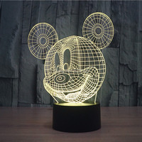 4pcs Lot Color Change Flashing Mickey Mouse Acrylic 3D LED Night Light USB 3D Christmas LED