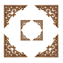 Flower Carving Natural Wood Appliques For Furniture Cabinet Unpainted Wooden Mouldings Decal Decorative Figurines