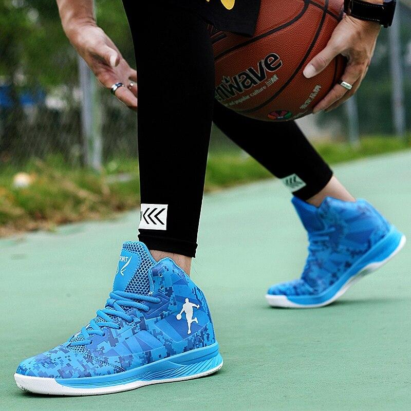 Thestron Mens Basketball Shoes High Top Men Sport Shoes Size 37 45 Male Basketball Shoes Sports Blue Black Kids Basketball Shoes in Basketball Shoes from Sports Entertainment