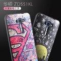 Moda 3d alívio pintura tpu macio silicon capa case coque para asus zenfone selfie zd551kl 5.5 polegadas telefone funda pele case