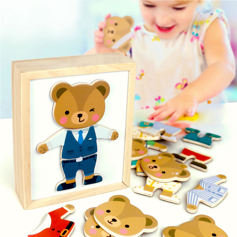 Magnetic Cartoon Bear Change Clothes Children Wooden Toy Puzzles Kids Educational Dress Changing Jigsaw Puzzle Toys For Children