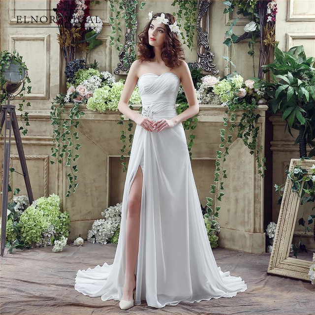 Simple Chiffon Wedding Dress Boho 2018 Corset Back Sweetheart Vestito Sposa  Split A Line Bridal Gowns