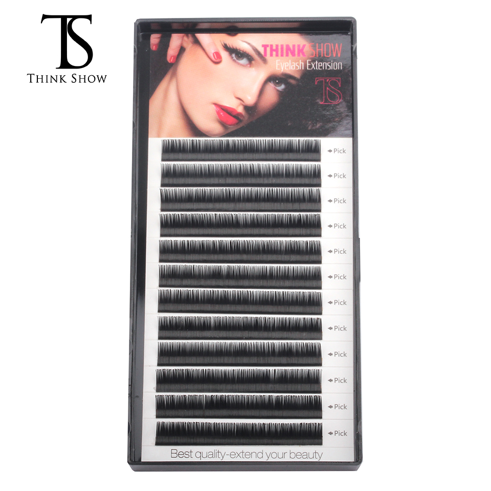 Thinkshow 10pcs/lot 3D Russia Volume Natural Long Korea Slik Handmade Eyelash Extension Lash Extension Individual False Eye Lash