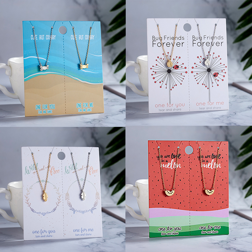 Rinhoo New Arrival Couples Jewelry Necklaces Dainty Insect Crab Leaf Pendant Necklace Paper Card For Lovers Best Love Gifts 2pcs