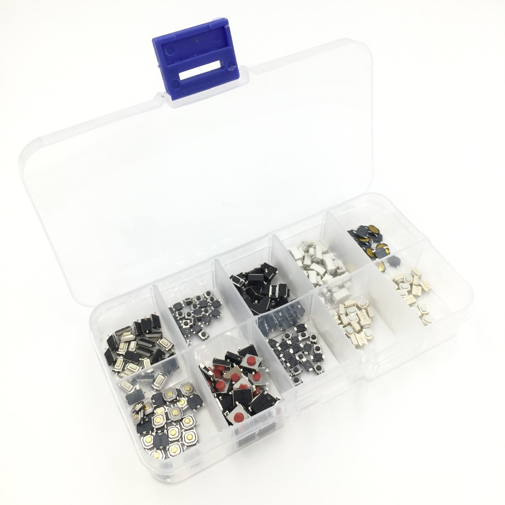 EziUsin 10 Models Car Remote Control Tablet Micro Switch Key Touch Tactile Push Button Component Package 4*4 3*6 3*4 6*6