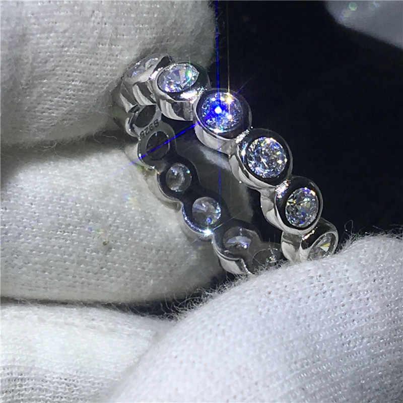 Vecalon Модные женские обручальные кольца кольцо 925 пробы серебро 3 мм 5A Циркон Sona обручальные кольца с фианитами для женщин ювелирные изделия на палец