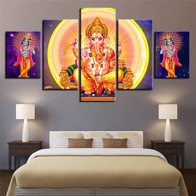Us 8 66 49 Off 5 Piece Nordic Hindu Lord Ganesha Wall Art Canvas Painting Oil Painting Radha Krishna Modular Picture Living Room Decoration In