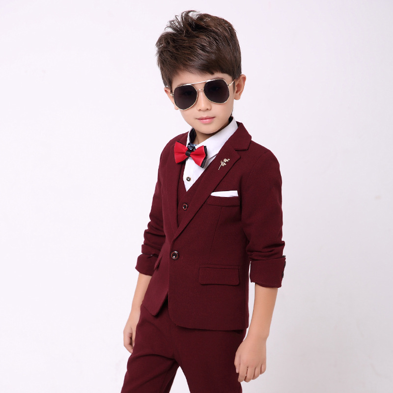 Boys Suit for Weddings Kids Tuxedo Suit 3 Piece Boys Wedding Dress Children Formal Suit Kids Boys Autumn Clothes