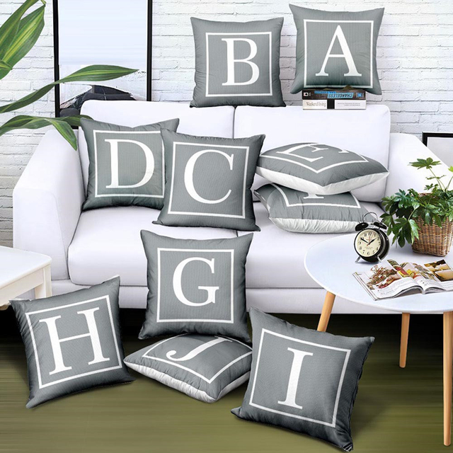 26 Letters Pattern Pillowcase Grey Fashionable Nordic Style Soft Chair Seat Bedding Cushion Pillowcase 45 x 45cm