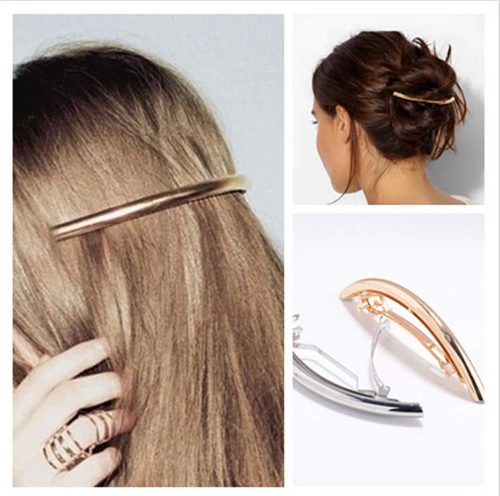 Simple Fashionable Women Hairpins Bend Metal Gold Silver ...