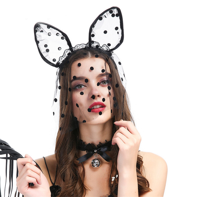 Haimeikang Dot Lace Cute Costume Party Headband Sexy Women Black Lace Cat Ear Hairband Hair Clip Band Accessories Party