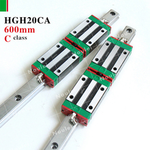 2 шт. 20 мм HIWIN HGR20 Линейной Направляющей Рельсы 600 мм HGH20 + 4 шт. HGH20CA Блок Каретки для ЧПУ набор