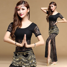 2019 New 3pcs sexy lace Belly Dance Costume Bollywood Costume Indian Dress Womens Belly Dancing Costume Sets Top+Belt+Pants