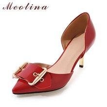 Meotina Women Shoes Tacones Altos Bombas Charol Punta estrecha Oficina de dos Piezas de Talones de la Señora Zapatos de Trabajo Blanco Rojo Más El Tamaño 42 43