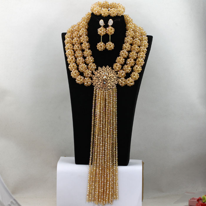 Gorgeous Champagne Dubai Wedding Party Jewelry Set Gold Crystal Statement Beads Balls Women Necklace Set Free Shipping QW045 gorgeous faux crystal beads anklet for women