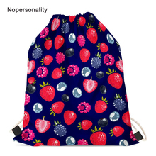 Nopersonality Strawberry Print Women String Drawstring Bag Female Beach Travel Storage Bag Cinch Sack Girls School Backpack