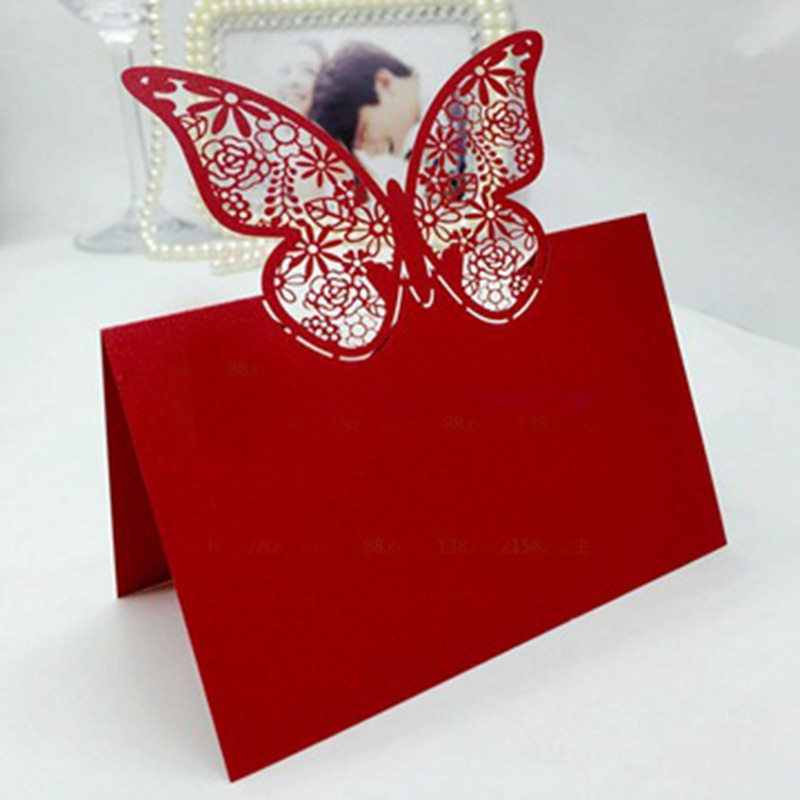 100pcs Red Butterfly Laser Cut Wedding Party Table Name Place Cards Table Decoration Wedding Favors And Gifts Party Supplies 100pcs purple butterfly laser cut wedding party table name place cards table decoration wedding favors and gifts party supplies