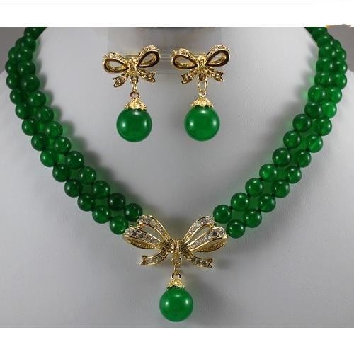 Зеленый нефрит ожерелье серьги ювелирный набор, 2 пряди 8 мм, круглые бусины кулон ожерелье серьги, Новая бесплатная доставка