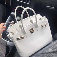 Luxury Genuine Leather Women's Handbag High Quality Real Leather Platinum Bag Top handle bag White Color