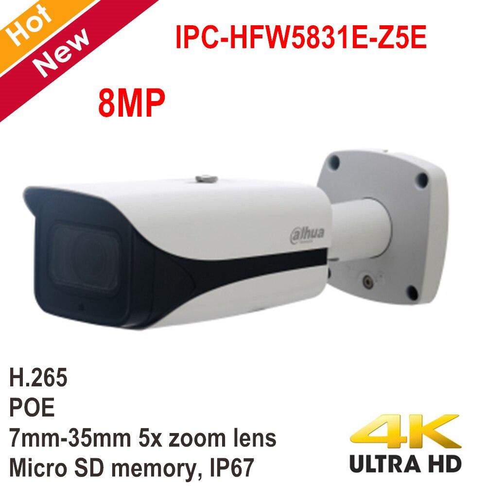 Original Dahua 8MP POE IP Camera IPC-HFW5831E-Z5E 7mm-35mm 5x Zoom Lens IR Distance 100m IP67 Support SD Card 128g Security Cam