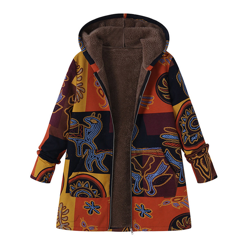 Plus Size Women Faux Fur Long Coats Printed Hooded Fake Suded Thick Women Winter Jackets 2019 Female Fluffy Padded Outerwear 5XL