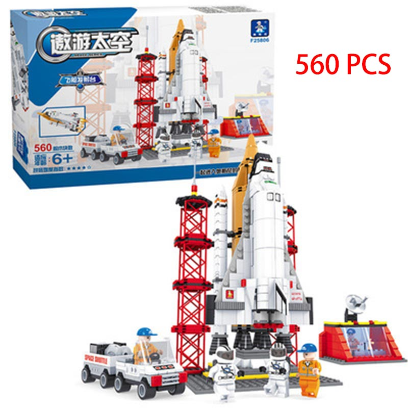 Space Ship Building Blocks 560 Pcs Bricks Educational Toys Model Building Kits DIY Marines Block Children Gift xipoo 6 in 1 blue military ship diy model building blocks bricks sets educational gift toys for children boy friends