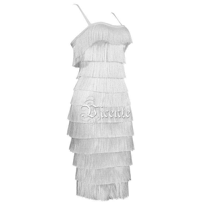 Mini Sans Celebrity Chic 2019 Dos Sexy Manches Bandage Carré Vicente Col Glands Slip Robe Nu Nouveau Party Blanc 0apfnW6q1