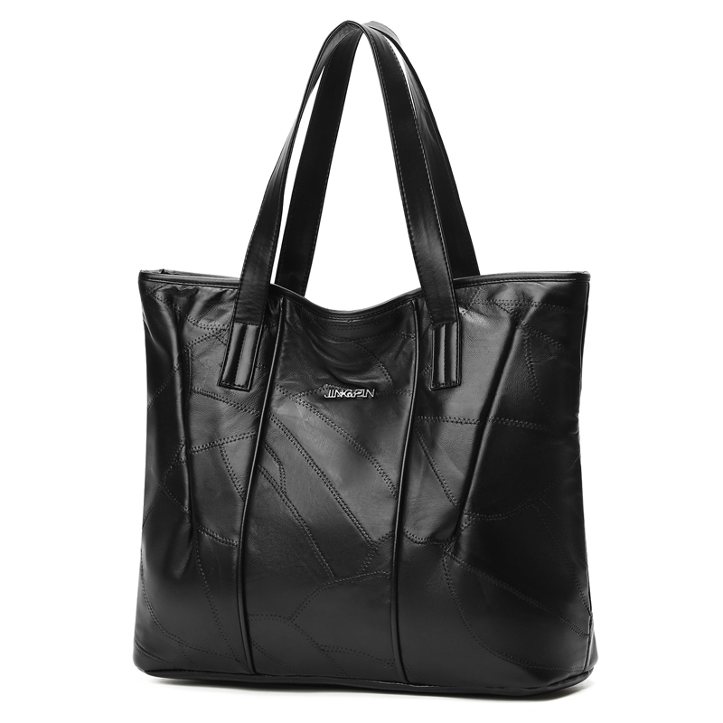Women Tote Bag Genuine Sheepskin Patchwork Casual Bags Big Capacity Woman Shoulder Bag Large Ladies Shopping Bags