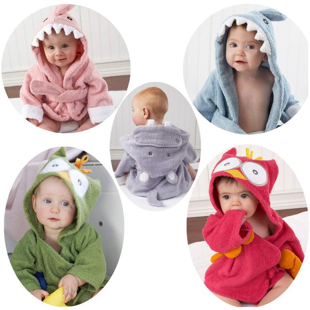 Nuevo 2016, invierno caliente, pijamas de los niños, muchachas de los Bebés del traje, trajes de baño, ropa de los niños de dibujos animados albornoz pijamas camisón manto