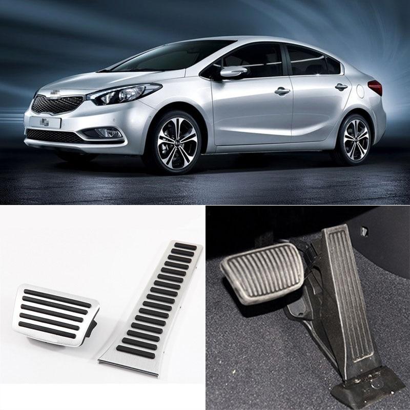 Un conjunto de aluminio antideslizante pie resto de combustible protector para pedales de freno y acelerador para Kia serie-in Pedales from Automóviles y motocicletas