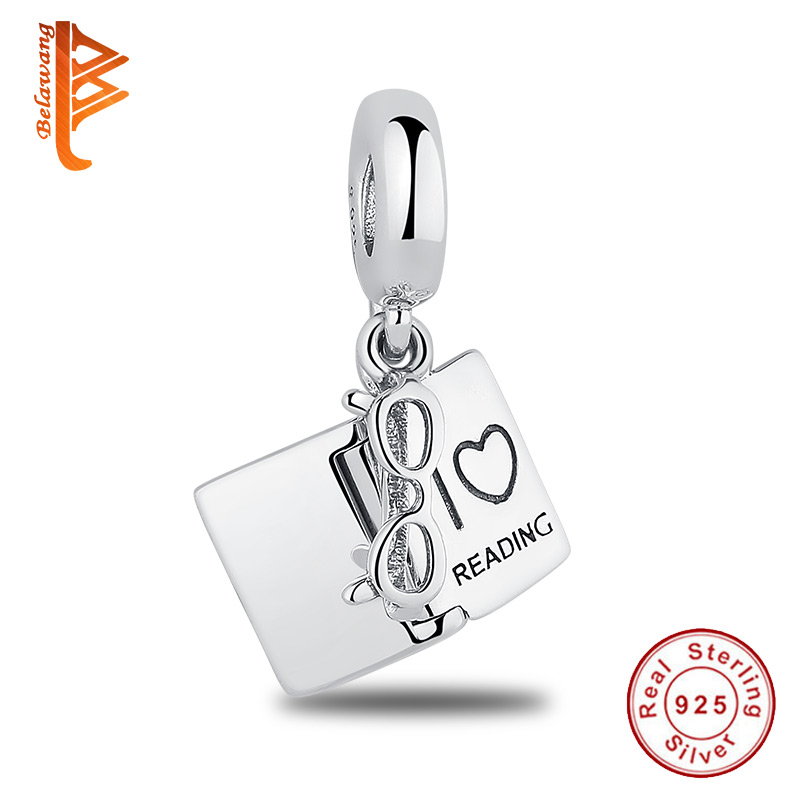 BELAWANG 2018 New 925 Sterling Silver I Love Reading With Glasses Dangle Charm Fit Original BW Bracelets&Necklaces Jewelry