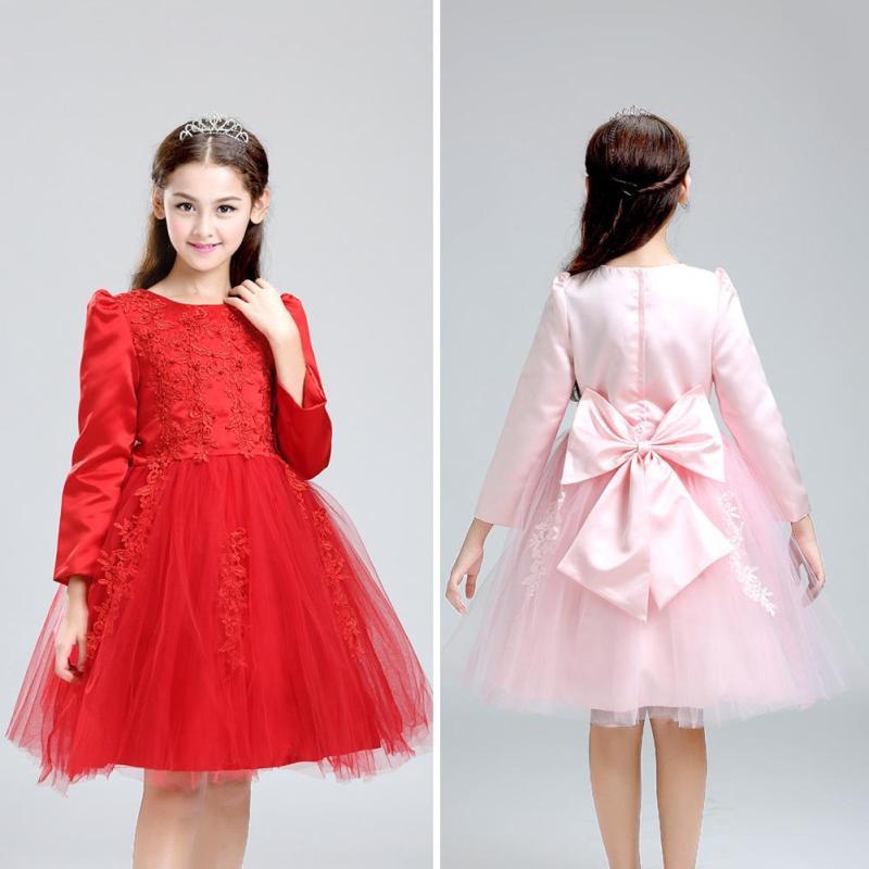 ФОТО autumn and winter girls dress red princess dress flower dress dresses tutu performing a service girls girl performing Nice W35