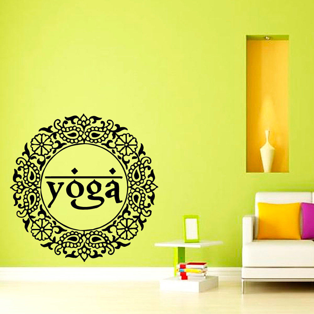 E201 Yoga Mandala Namaste Om Symbol Design Murals Vinyl Art Vinyl ...