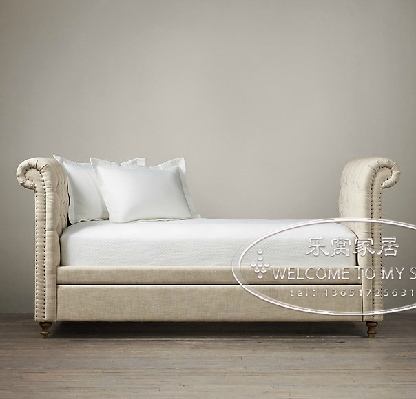 French Original Single Wood Soft Pack Bed Chesterfield Sofa Manufacturers To Customize